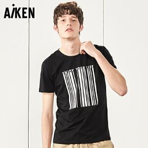 森马旗下Aiken短袖T恤男士夏装新款圆领体恤男生字母印花半袖上衣青年