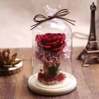 情人节永生花玻璃罩 礼盒保鲜玫瑰干花情人节生日礼物摆件