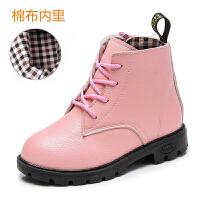 童鞋女童靴子秋冬季公主马丁靴小女孩短靴加绒棉鞋儿童雪地靴 粉色 单款