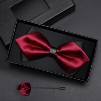 男士正装英伦韩版蝴蝶结礼盒装男士领结男伴郎新郎酒红色黑色领结