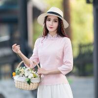 新款女装民族风绣花衬衣 中袖立领麻小衫衬衫A6330