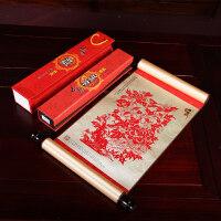 【支持礼品卡】中国风特色礼品送老外出国小礼物手工艺品剪纸丝绸画装饰画 kn1