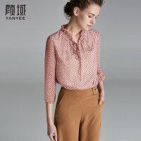 颜域品牌女装2018夏季装新款简约梭织印花衬衣荷叶绑带领波点衬衫