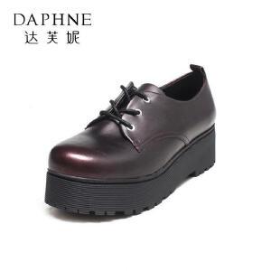 Daphne/达芙妮秋款 英伦风复古女绑带防水台单鞋