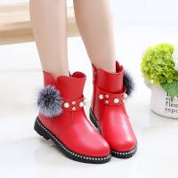 女童靴子公主鞋皮靴中大童时尚儿童鞋棉靴加绒雪地靴冬鞋