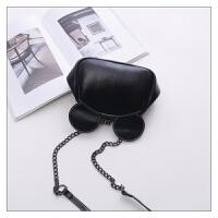178包包新款时尚女包可爱米奇夹子包锁扣包单肩斜挎包链条包 黑色小号 送眼镜包 现货