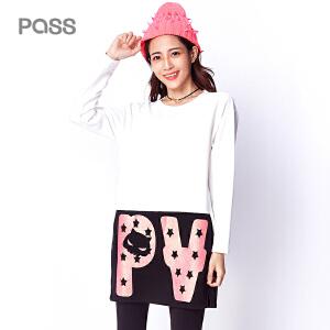 【不退不换】PASS冬季新款 个性撞色拼接大口袋圆领长袖直筒学生连衣裙
