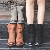 玛菲玛图 罗马靴子女秋款2017新款真皮百搭欧美中筒倒靴复古磨砂皮马丁短靴3301-A1