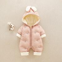 婴儿秋冬装夹棉连体棉衣6-12个月新生儿衣服连帽外出抱衣宝宝哈衣 66cm(66cm【婴幼儿 内里加绒加厚 极