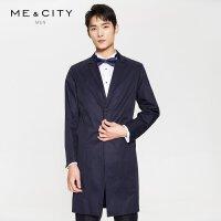 【2件2.5到手价:235】MECITY男装春季羊毛系带西装领风衣外套中长款韩版