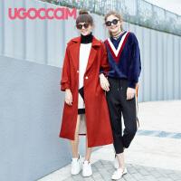 UGOCCAM2018新款韩版一字肩连衣裙女夏露肩短袖小清新上衣