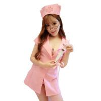 开衩式护士服制服诱惑女士情趣内衣角色扮演用品7984 粉色M 【含针筒 网袜】
