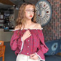 春夏女装韩版小清新甜美蕾丝边一字肩格子衬衣露肩上衣打底衫衬衫 均码