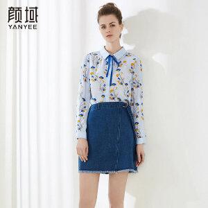 颜域品牌女装2018夏季装新款休闲简约修身显瘦蝴蝶结印花雪纺衬衫