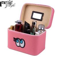 门扉 化妆包 可爱眼睛大容量手提化妆箱便携化妆袋防水旅行收纳包化妆工具箱化妆品收纳盒