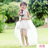 女童公主裙夏装蓬蓬燕尾女孩长裙韩版纯白色夏季儿童连衣裙子2055 白色