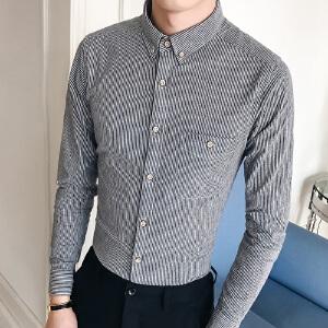 新款韩版秋季男装长袖衬衫条纹潮休闲衬衣加绒加厚