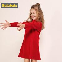 巴拉巴拉女童连衣裙秋冬新款宝宝针织裙子儿童公主裙毛衣裙女
