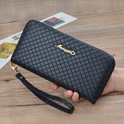 新款女士钱包百搭手拿包手机包气质格纹零钱小包