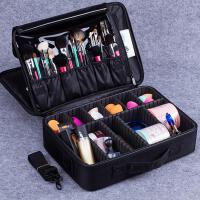 化妆箱包大号手提纹绣工具箱多层美容美甲收纳箱化妆师跟妆包 大号三层升级版(黑色) 预售4号发货