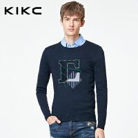 kikc针织衫男2017冬季新品个性字母印花欧美长袖套头毛衣男时尚