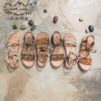 玛菲玛图2019韩版简约百搭复古真皮森女凉鞋夏学生软妹绑带平底罗马鞋80882-6