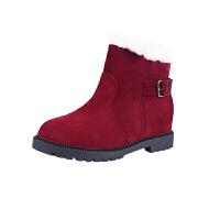 2018冬天雪地靴女棉靴棉鞋短筒加绒保暖马丁靴纯色舒适学生女棉靴