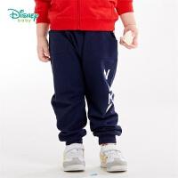 【2件3折到手价:37.5】迪士尼Disney童装 时尚潮童哈伦裤男童纯棉长裤秋季新品字母印花裤子193K917