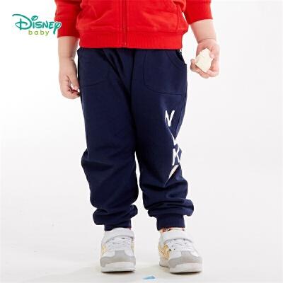 【2件3.5折到手价:41.3】迪士尼Disney童装 时尚潮童哈伦裤男童纯棉长裤秋季新品字母印花裤子193K917 个性小潮童哈伦长裤