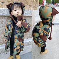新款男童棉衣冬装加厚外套2男宝宝中长款棉袄3岁儿童羽绒 军绿色