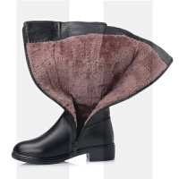 马丁靴女2018新款冬季加绒棉鞋真皮羊毛中筒靴粗跟高筒靴长靴棉靴SN0389 35 【标准码】