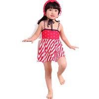带帽子 宝宝婴儿分体泳装 女童可爱裙摆 儿童泳衣