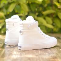 帆布鞋女潮夏高帮平底黑白色休闲板鞋春秋学院风韩版学生单鞋 大白 白色加绒平底