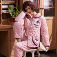 三层夹棉睡衣女冬珊瑚绒加绒加厚法兰绒韩版甜美保暖家居服套装秋