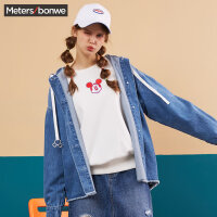 美特斯邦威外套女2019秋季新款时尚潮流米奇图案连帽女士牛仔外套