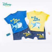 【3件3折到手价:57.9】迪士尼(Disney)童装 男童套装纯棉短袖上衣仿牛仔哈伦短裤2件套夏季新品儿童衣服
