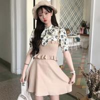 韩版时尚休闲套装夏装女装碎花短袖雪纺衫上衣+吊带+半身裙三件套
