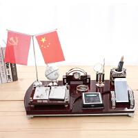 高档办公室桌面摆件装饰品创意老板文台笔筒招财摆设*礼品