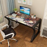 电脑台式桌学习桌钢化玻璃游戏用单人家用小型写字桌电竞网吧式