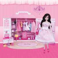 儿童芭比娃娃套装衣橱女孩公主仿真关节换装过家家美发洋娃娃玩具