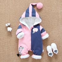 婴儿冬装连体衣外出抱衣秋冬保暖加绒加厚婴幼儿衣服宝宝潮款哈衣
