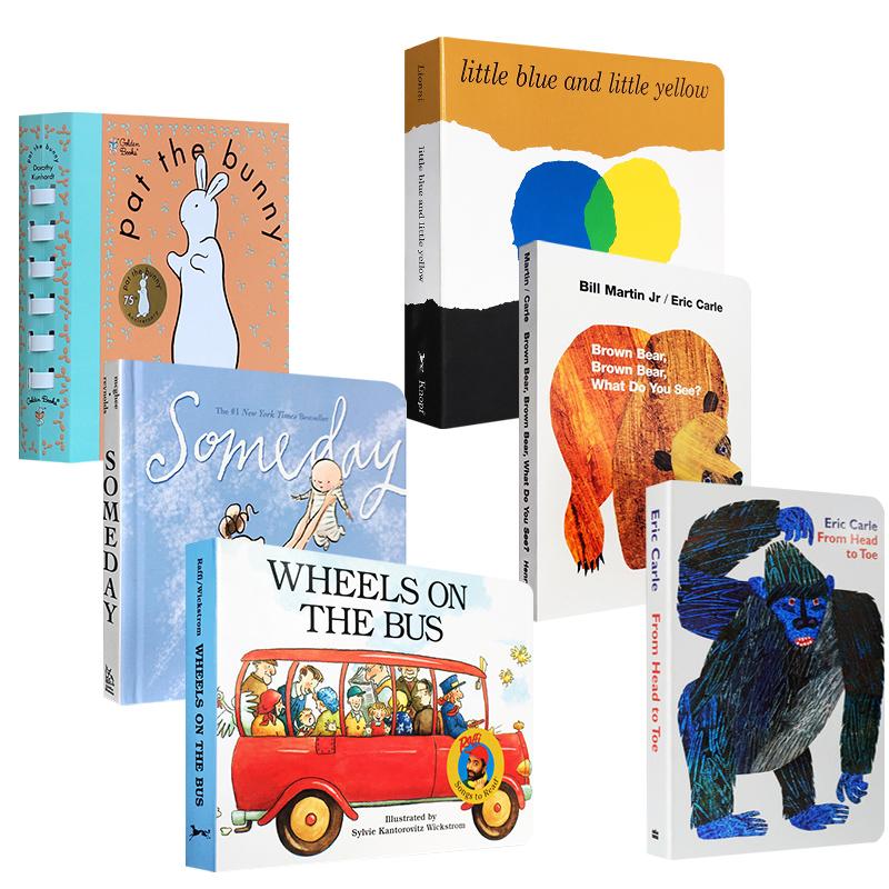 儿童英文原版绘本6本套装 someday Wheels On The Bus From Head To Toe Brown Bear 小黄与小蓝 0-3-6岁亲子读物