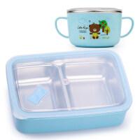 小学生饭盒可爱304不锈钢便当盒餐盘餐盒分格带盖