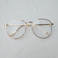 大框装饰眼睛网红镜框男女素颜近视眼镜架配有度数韩版潮 金色 【送平光镜片】