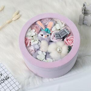 幸阁 永生花材圆绒布兔子玫瑰花礼盒 YH06情人节圣诞节生日礼物送女友创意礼品