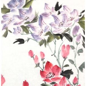 知名画家  郭怡踪 【花儿 1】67*33cm.纸本软片,品如图。