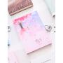 儿童密码本日记本小学生公主可爱星空彩页少女男孩笔记本带锁笔记本