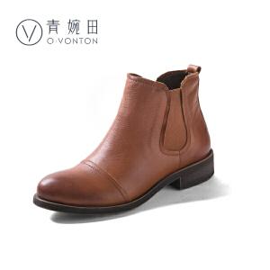 青婉田春冬新款中跟切尔西靴女英伦复古短靴真皮圆头百搭女靴