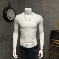 男装短袖T恤夏季半袖体恤韩版修身半截袖丝滑纯色打底衫潮 白色 M