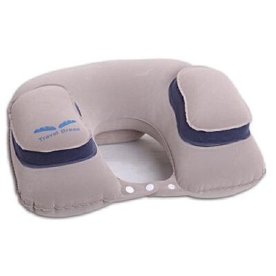 充气u型枕飞机旅行枕护颈枕汽车用u形枕护脖子睡觉靠枕头吹气便携s6 浅灰色